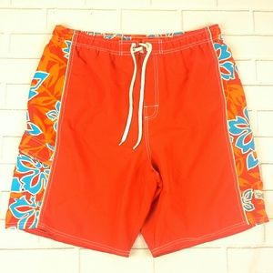 OP Sport Cargo Swim Trunks Size L Inner Liner Red